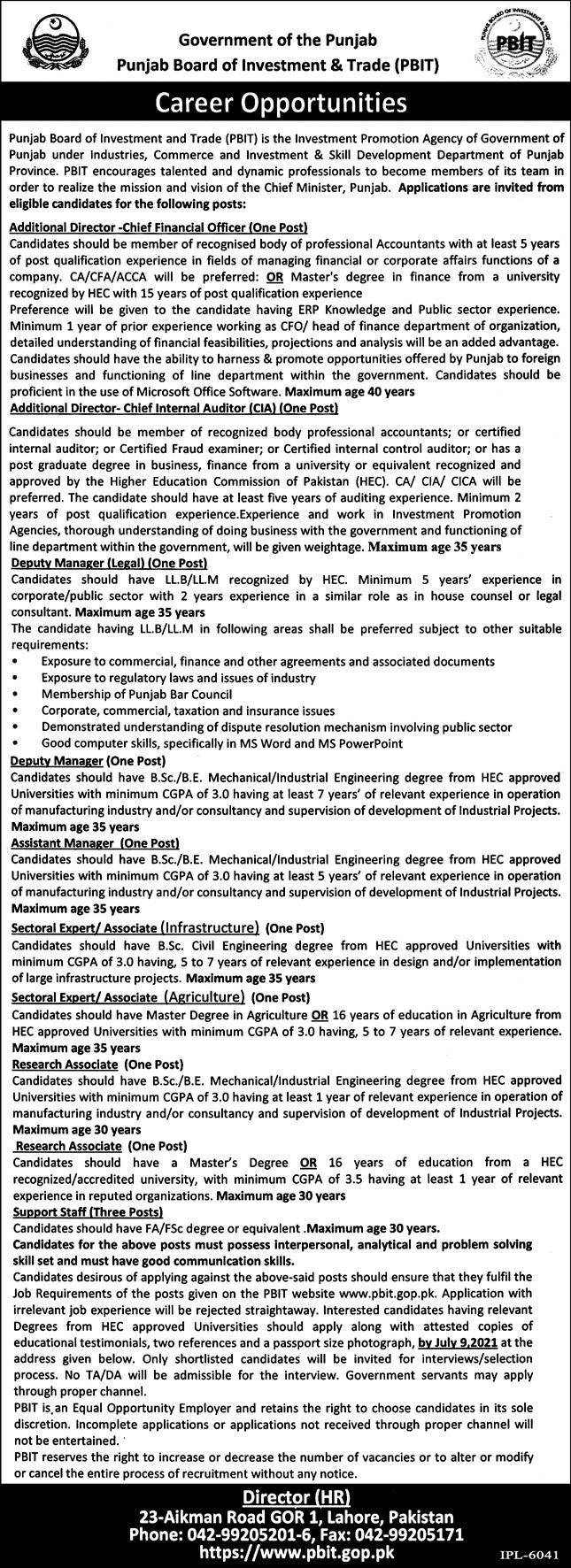 Punjab Board of Investment & Trade PBIT Jobs 2021