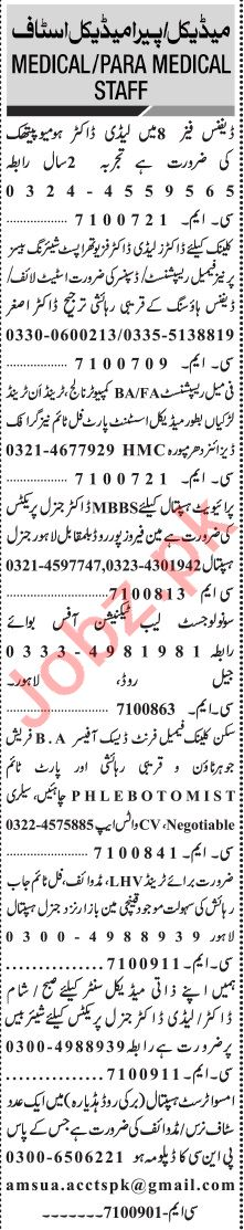 Jang Sunday Classified Ads 20 June 2021 for Medical Staff