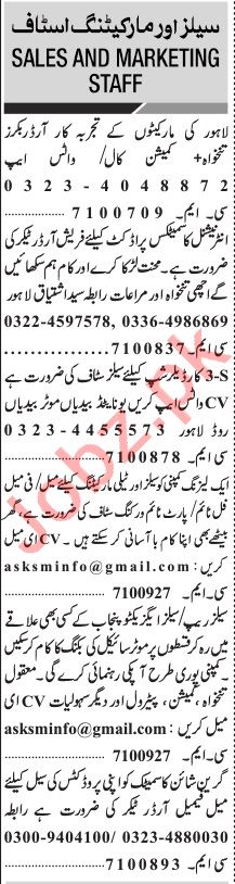 Jang Sunday Classified Ads 20 June 2021 for Marketing Staff
