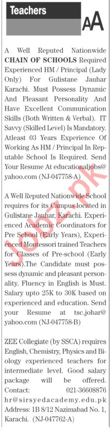 The News Sunday Classified Ads 20 June 2021 Teaching Staff