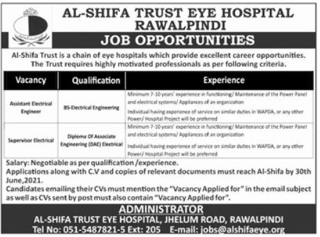 Al Shifa Trust Eye Hospital Jobs in Rawalpindi Jobs 2021