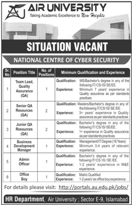 Air University Islamabad Jobs 2021