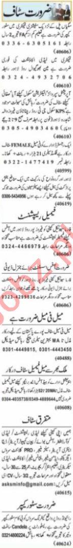 Nawaiwaqt Sunday Classified Ads 20 June 2021 Office Staff
