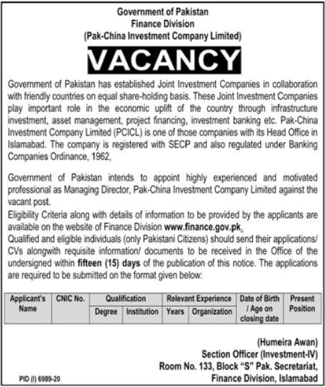 Finance Division Govt of Pakistan Jobs 2021