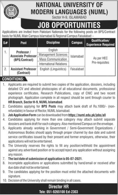 NUML Islamabad Professor Jobs 2021