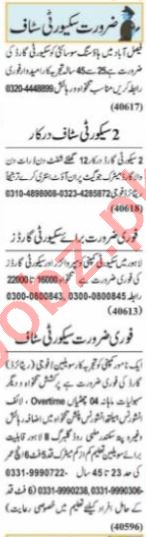 Nawaiwaqt Sunday Classified Ads 20 June 2021 for Security