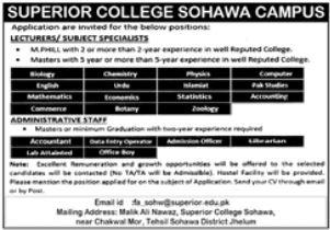 Superior College Sohawa Campus Jobs 2021