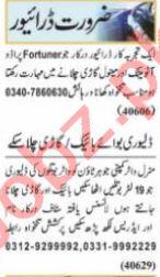 Nawaiwaqt Sunday Classified Ads 20 June 2021 Driving Staff
