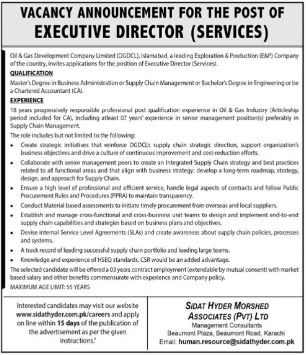 Executive Director Service In Islamabad