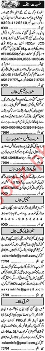 Khabrain Sunday Classified Ads 20 June 2021 for Management