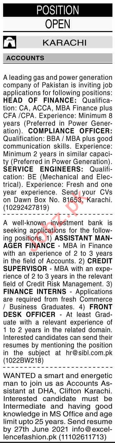 Dawn Sunday Classified Ads 20 June 2021 for Accounts Staff