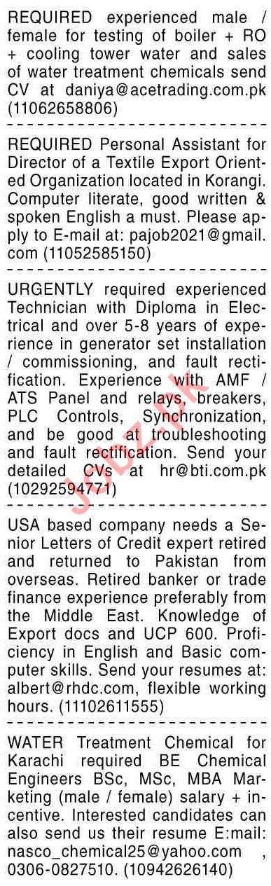 Dawn Sunday Classified Ads 20 June 2021 for General Staff