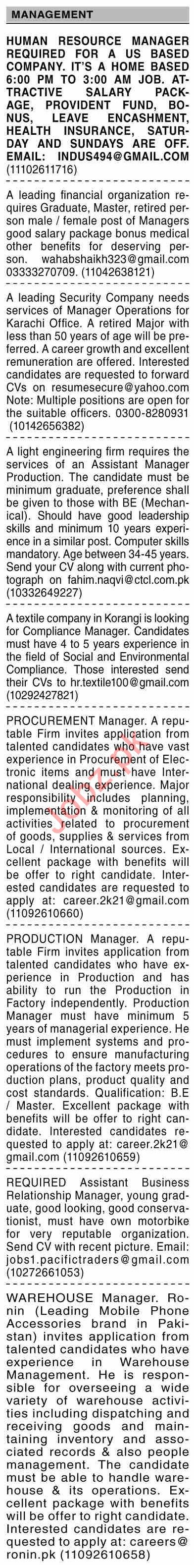 Dawn Sunday Classified Ads 20 June 2021 for Management
