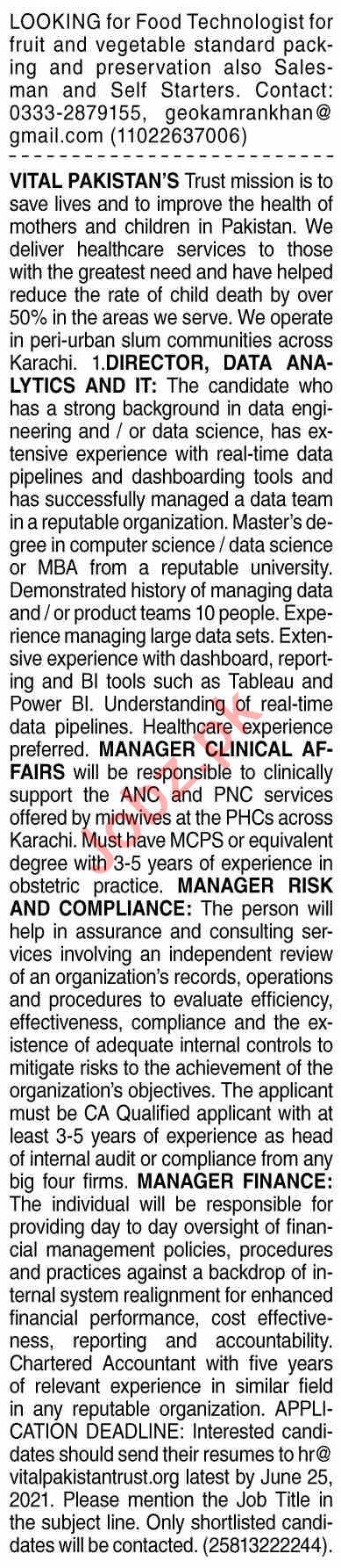 Dawn Sunday Classified Ads 20 June 2021 for Multiple Staff