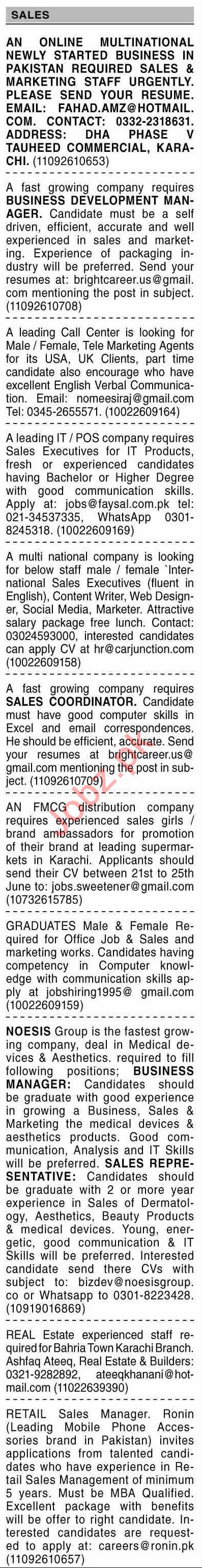 Dawn Sunday Classified Ads 20 June 2021 for Sales Staff