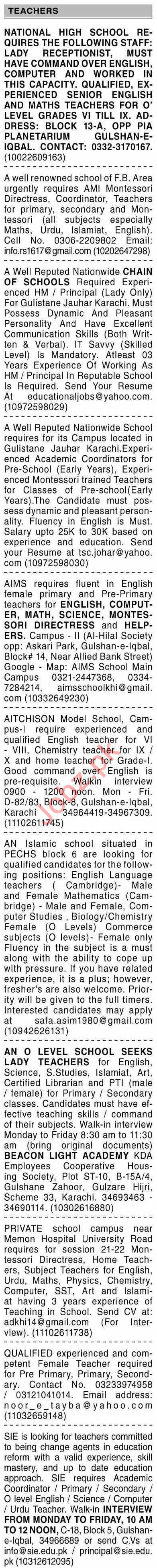 Dawn Sunday Classified Ads 20 June 2021 for Teaching Staff