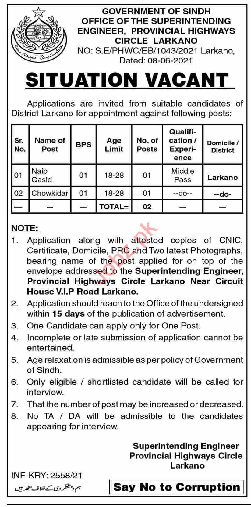 Provincial Highways Circle Larkana Jobs 2021 for Chowkidar