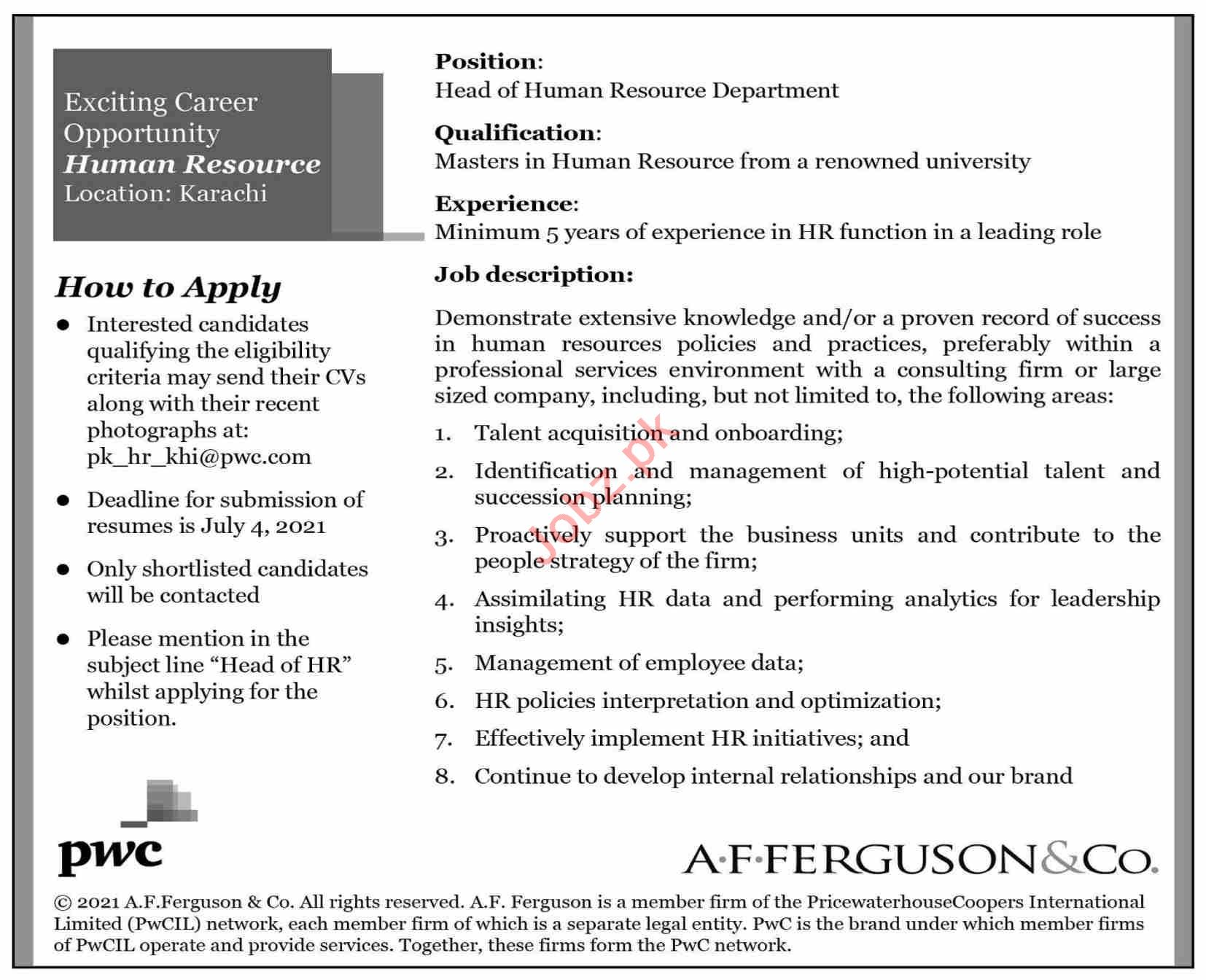 A F Ferguson & Co Karachi Jobs 2021 for Head of HR