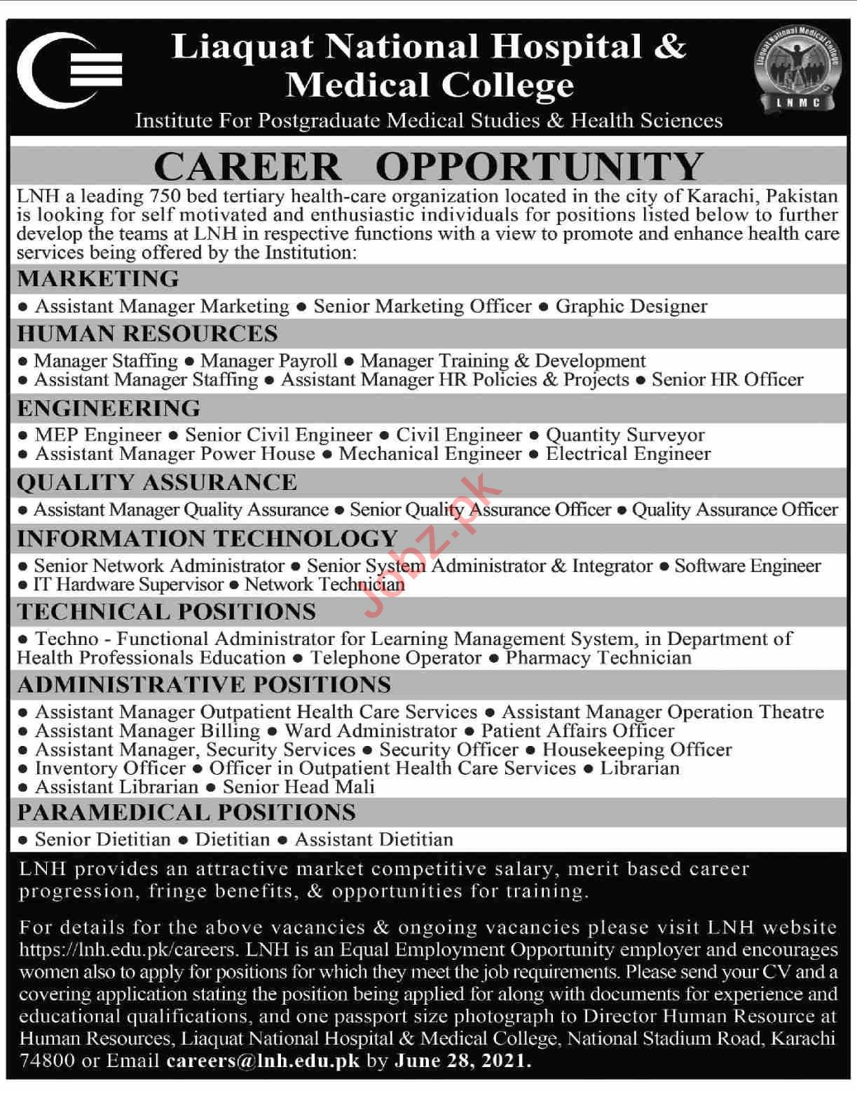 Liaquat National Hospital and Medical College LNH Jobs 2021