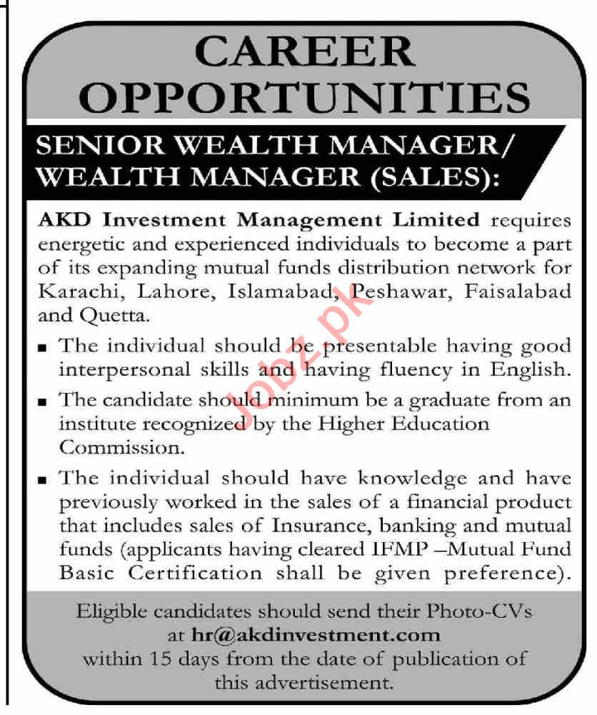 AKD Investment Management Karachi Jobs 2021 for Manager