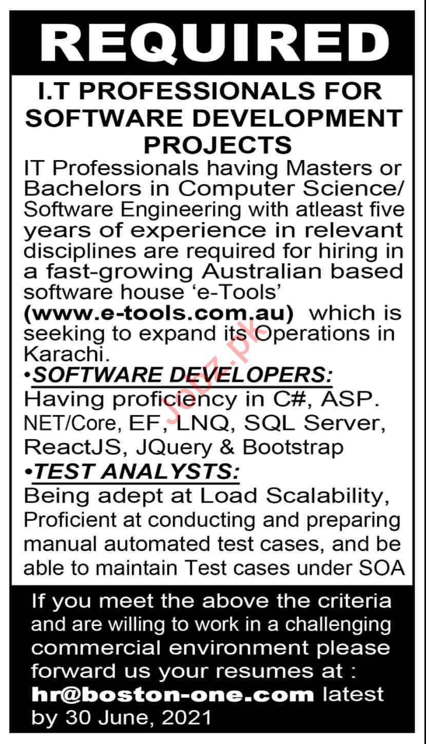 Boston One Technological Solutions Jobs 2021 IT Professional