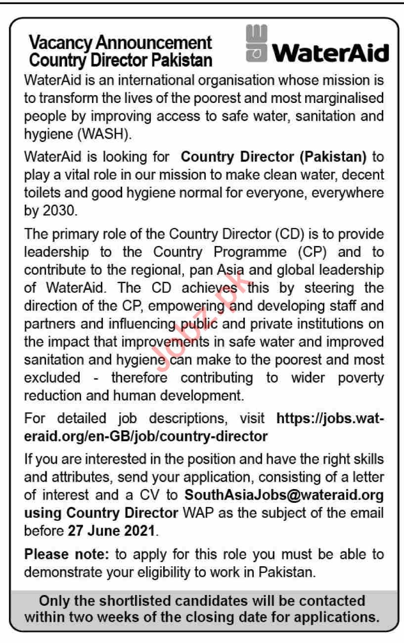 WaterAid Pakistan Jobs 2021 for Country Director
