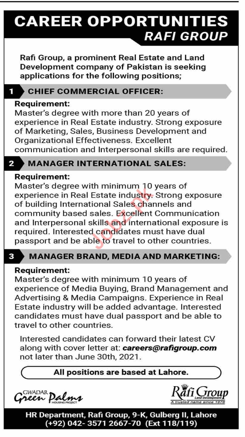 Rafi Group Lahore Jobs 2021 for Chief Commercial Officer