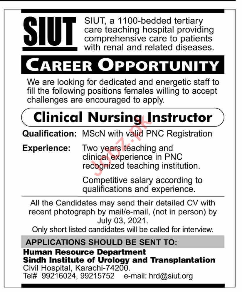 SIUT Karachi Jobs 2021 for Clinical Nursing Instructor
