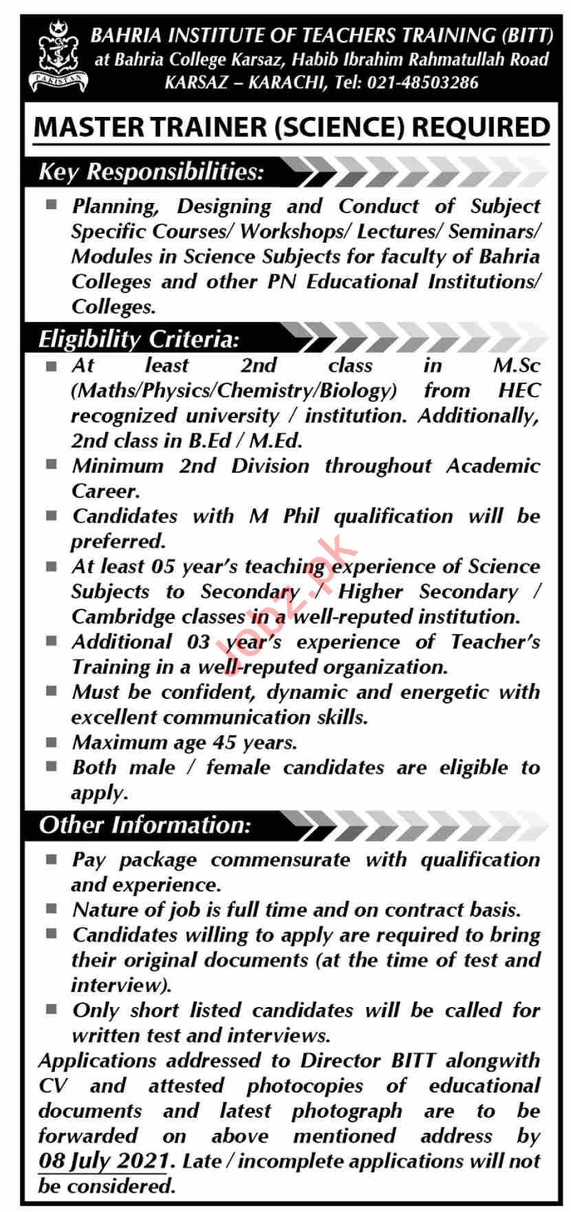 Bahria Institute of Teachers Training BITT Karsaz Jobs 2021