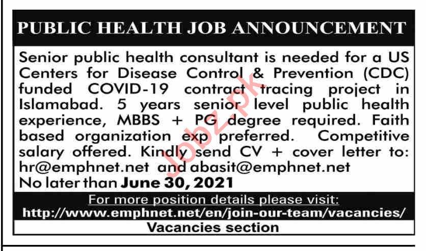 Senior Public Health Consultant Jobs 2021 in Karachi