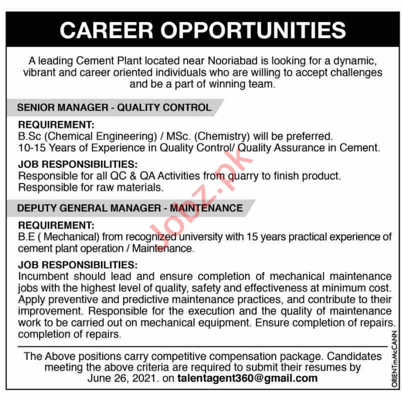 Senior Manager Quality Control & Deputy General Manager Jobs