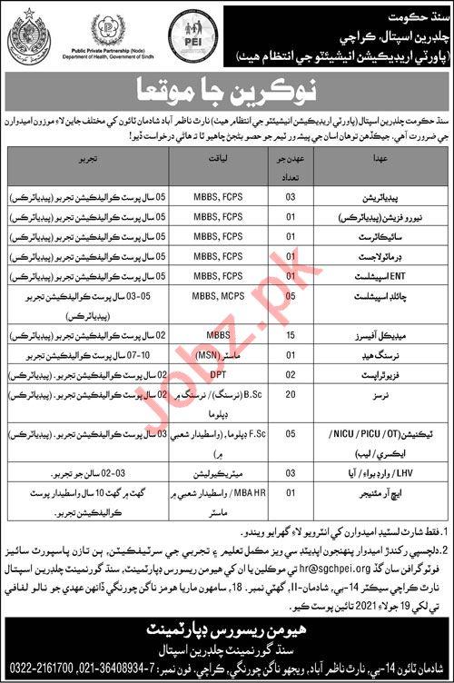 Sindh Government Children Hospital Karachi Jobs 2021
