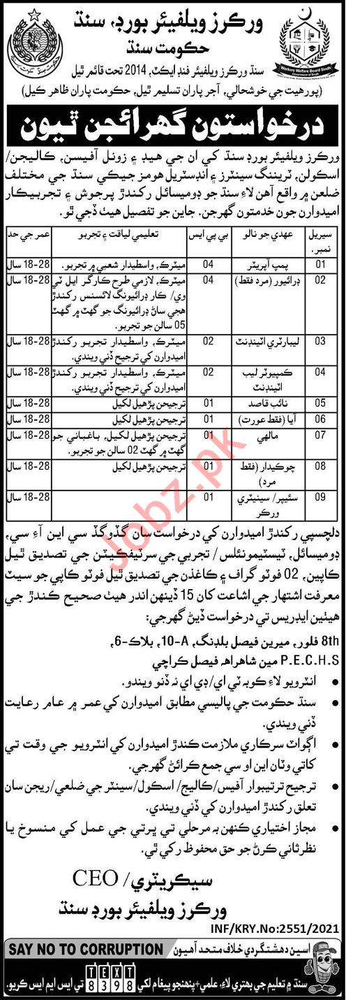 Workers Welfare Board Sindh Jobs 2021 for Attendant