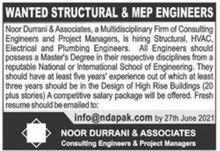 Structural MEP Engineer Jobs in Lahore