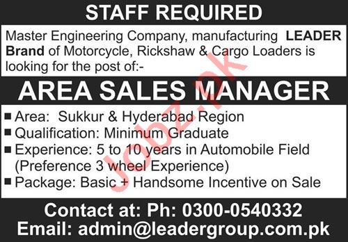 Leader Group Hyderabad Jobs 2021 for Area Sales Manager