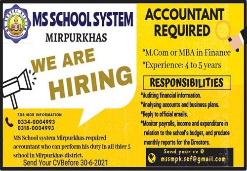 MS School System Mirpurkhas Jobs 2021 for Accountant