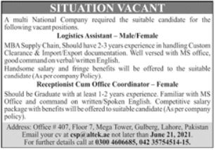 Logistic Assistant Receptionist Jobs in Lahore