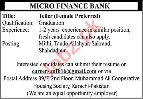 Female Teller & Teller Jobs 2021 in Karachi