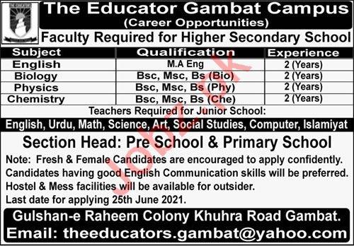 The Educators Gambat Campus Jobs 2021 for Teachers