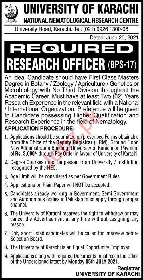 National Nematological Research Centre UOK Karachi Jobs 2021