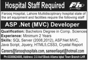 Farooq Hospital Lahore Jobs 2021