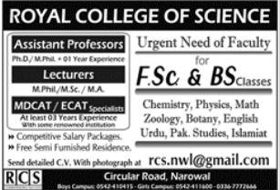 Royal College of Science Narowal Jobs 2021