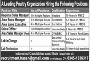 Poultry Organization Jobs in Lahore