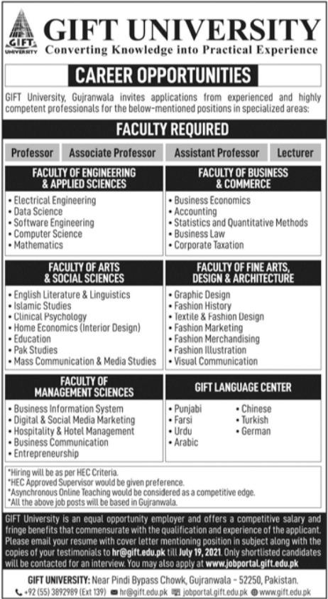 GIFT University Gujranwala Professor Jobs 2021
