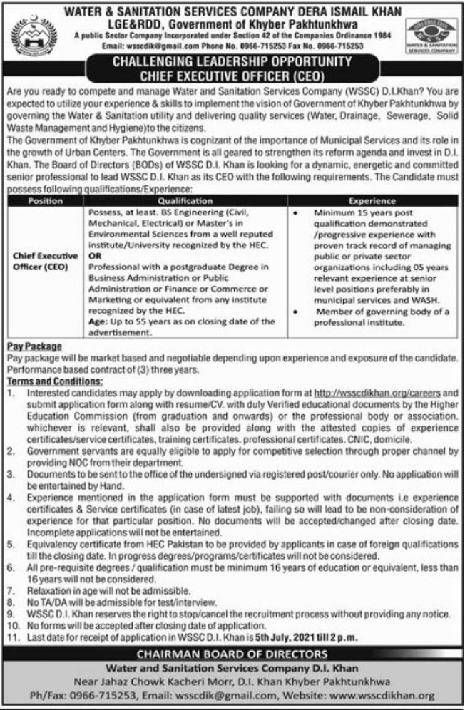 Chief Executive Officer Jobs in Water & Sanitation Services