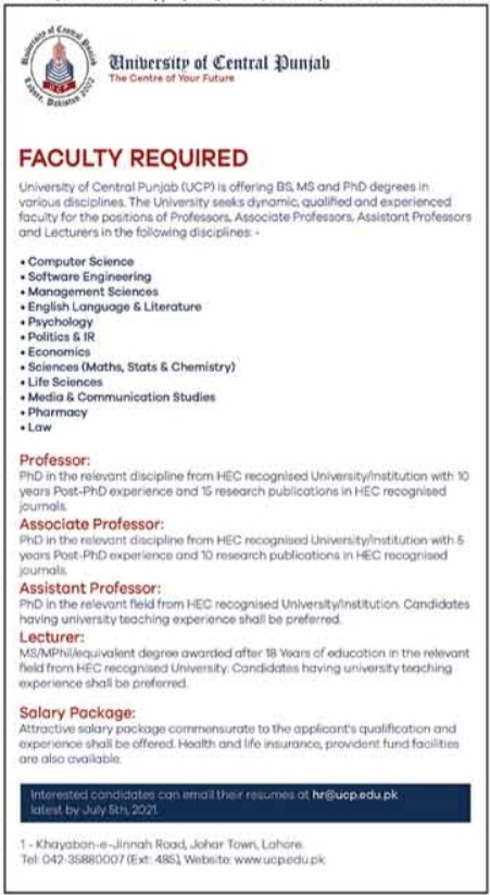 University of Central Punjab UCP Faculty Staff Jobs 2021