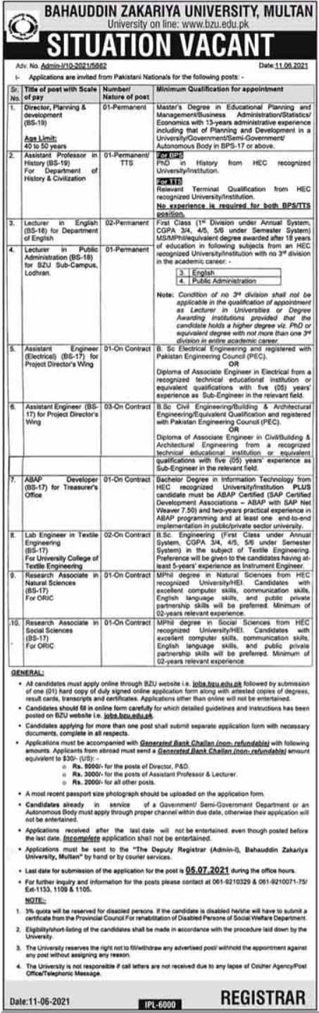 Bahauddin Zakariya University BZU Management Jobs 2021
