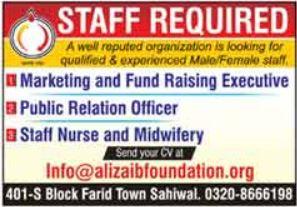 Ali Zaib Foundation Management Jobs 2021
