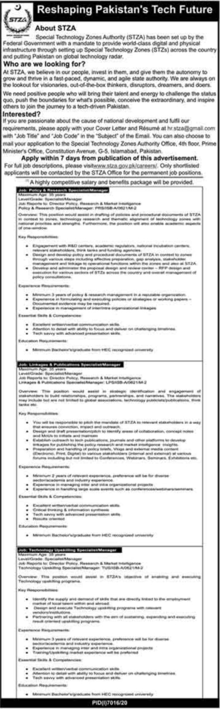 Special Technology Zone Authority STZA Management Jobs 2021