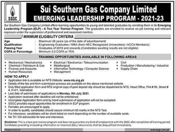 Sui Southern Gas Company Limited Internship 2021 via NTS
